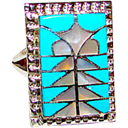 Zuni P Quam Sterling Silver Seeping Beauty Turquoise MOP Ring Size 6 Mosaic Inlay Design Ring