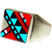 Zuni Sterling Silver Turquoise Coral Jet Mother of Pearl Mosaic Inlay Statement Ring Size 10