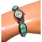 Vintage Navajo Sterling Silver Fire Opal Channel Inlay Lady's Watch Adjustable Band with Watch Signed