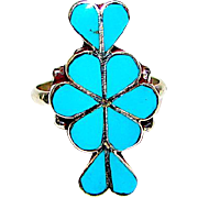 Zuni Sterling Silver Seeping Beauty Mine Turquoise Ring Size 5.5 Mosaic Inlay Design Statement Ring
