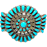 Vintage Native American Navajo Sterling Silver Turquoise Cluster Rosette Statement Cuff Bracelet by Highly Collectible Marc Begay