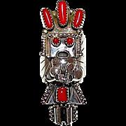 Native American Old Pawn Navajo Sterling Silver Mediterranean Coral Kachina Ring Size 8 Rare