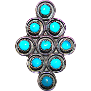 Old Pawn ZUNI Sterling Silver Turquoise Statement Ring Size 6 Snake Eye Design