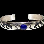 Native American TOMMY SINGER Navajo Sterling Silver Lapis Lazuli Tribal Design Cuff Bracelet Hand Etched