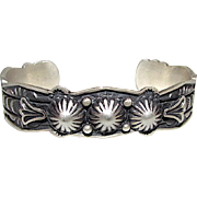 Native American Navajo Sterling Silver Statement Cuff Bracelet with Hand Etched Tribal Design Highly Collectible G Natan 30 grams