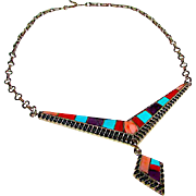 Native American Navajo Sterling Silver Turquoise Coral Purple Sugilite Channel Inlay Statement Necklace