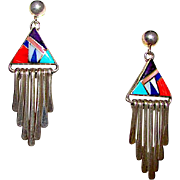 Vintage Navajo Sterling Silver Turquoise Coral Lapis Channel Inlay Pierced Dangle Earrings