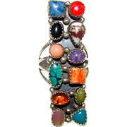 Navajo Ramone Platero Sterling Silver Turquoise Multi Stone Modernist Statement Ring Size 10