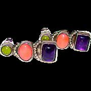Navajo Robert Becenti Sterling Silver Amethyst Coral Peridot Contemporary Post Earrings