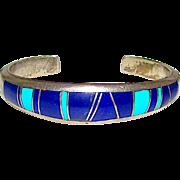 Navajo Joe Piaso Sterling Silver Lapis Lazuli Turquoise Channel Inlay Cuff Bracelet