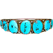 Old Pawn Navajo Sterling Silver Kingman Turquoise Cuff Bracelet