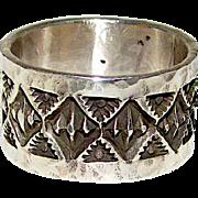 Navajo Sterling Silver Statement Band Ring Band Size 6 Jocelyn Cadman