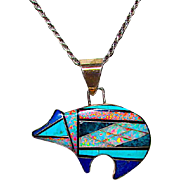 Navajo Sterling Silver Turquoise Lapis Opal Channel Inlay Bear Pendant Necklace