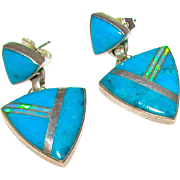 Navajo Cathy Webster Turquoise Fire Opal Inlay Dangle Statement Earrings