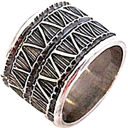 Navajo Darrell Cadman Sterling Silver Statement Band Ring Band Size 5