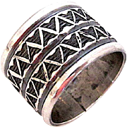 Navajo Darrell Cadman Sterling Silver Statement Band Ring Band Size 8