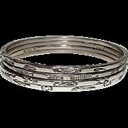 Mexican Silver 925 Bangle Bracelets Set of 4 Tribal Design