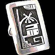 Native American HOPI Sterling Silver Kachina Ring Size 11 Rare