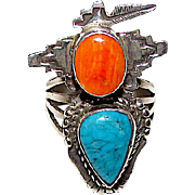 Navajo Bennie Ration Kachina Ring Size 8 Sterling Silver Spiny Oyster Turquoise