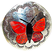 Zuni Quintin Quam Sterling Silver Coral Inlay Butterfly Ring Size 7 Native American Jewelry