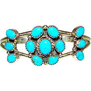 Navajo Ed Becenti Sterling Silver Sleeping Beauty Turquoise Cluster Rosette Statement Cuff Bracelet