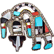 Old Pawn Zuni Angela Celicion YEI Rainbow God Sterling Silver Turquoise Coral MOP Jet Brooch Pin Pendant Naja