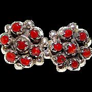 Vintage Zuni Sterling Silver Mediterranean Coral Rosette Cluster Pierced Earrings Snake Eye Design