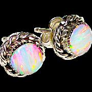 Navajo Sterling Silver Opal Pierced Post Earrings