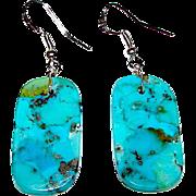 Native American Santo Domingo Sterling Turquoise Slab Dangle Earrings