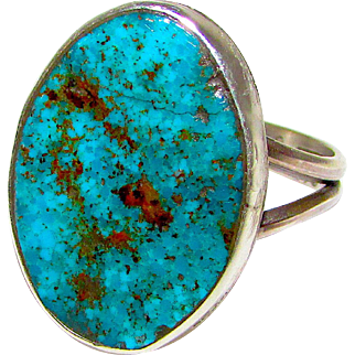 NAVAJO Bisbee Turquoise Sterling Silver Ring Size 7 Fred Begay Singed