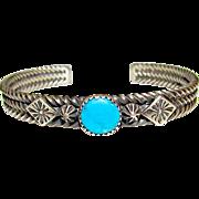 Navajo J King Sterling Silver Turquoise Cuff Bracelet