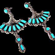 Zuni Bill and Lou Laweka Sterling Silver Sleeping Beauty Mine Turquoise Dangle Statement Chandelier Earrings