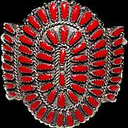 Vintage Native American Zuni Sterling Silver Coral Cluster Rosette Cuff Statement Bracelet 40 grams