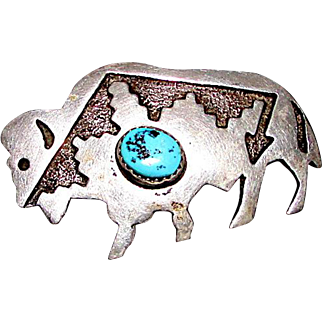 Navajo Sterling Silver Turquoise Buffalo Brooch/ Pin Pendant Figurals Brooch