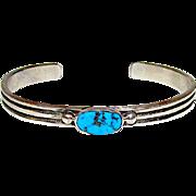Navajo Wilson Begay sand Cast Sterling Silver Kingman Turquoise Bracelet