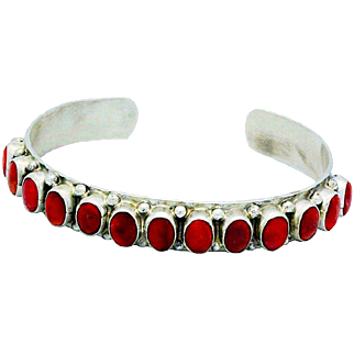Native American Navajo Sterling Silver Coral Cuff Bracelet by the Highly Collectible Artists Vernon & Clarissa Hale