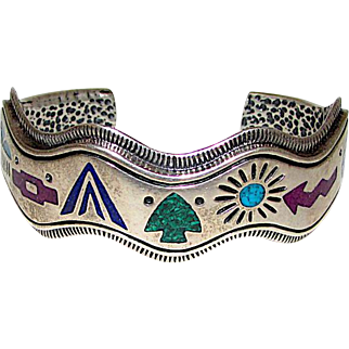 Navajo Sterling Silver Turquoise Lapis Sugilite Channel Inlay Cuff Bracelet 47 grams