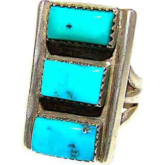 Old Pawn Navajo Sterling Silver Turquoise Statement Ring Size 9