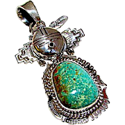 Navajo Sterling Silver Green Carico Lake Turquoise Kachina Pendant Highly Collectible Benny Ration Singed