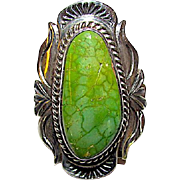 Vintage Native American Navajo Sterling Silver Green Carico Mine Turquoise Statement Ring Size 7.5 Squash Blossom Hand Etched Design