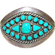 Vintage Native American Navajo Sterling Silver Turquoise Cluster Statement Cuff Bracelet by Highly Collectible Tom Morris