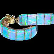 Native American Navajo Sterling Silver Fire Opal Pierced Hoop Earrings Signed