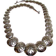 Old Pawn Navajo Sterling Silver Flat Bead Beaded Reversible Necklace Navajo Pearls Necklace Hand Etched Design 80 grams