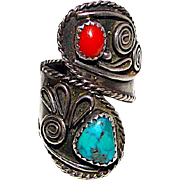 Navajo Old Pawn Native American Sterling Silver Kingman Turquoise Coral Bypass Adjustable Size Ring Squash Blossom Design
