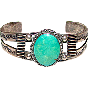 Old Pawn Native American Navajo Sterling Silver Green Carico Lake Turquoise Cuff Bracelet Hand Etched Design