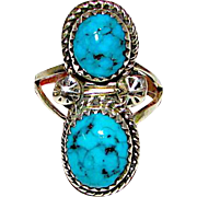 Navajo Harrison Yazzie Sterling Silver Kingman Turquoise Ring Size 6.5 Native American