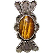 Vintage Old Pawn Native American Navajo Sterling Silver Tiger Eye Stone Statement Ring Size 9 Squash Blossom Design