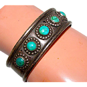 Old Pawn ZUNI Sterling Silver Turquoise Cuff Bracelet Native American Old Rare