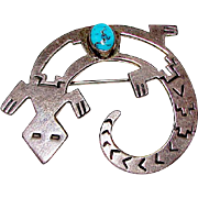 Old Pawn Native American Navajo Sterling Silver Turquoise Lizard Brooch Pin