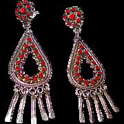 Old Pawn Zuni Sterling Silver Mediterranean Coral Snake Eye Design Pierced Dangle Statement Earrings